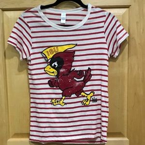Iowa's State ISU striped t-shirt distressed M